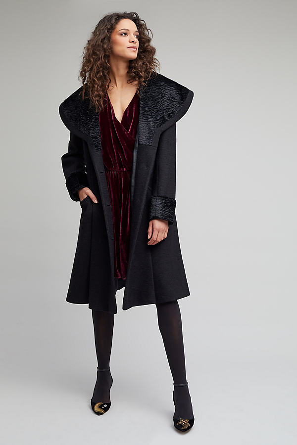 Astrakhan Princess Coat - Black, Size Uk 12