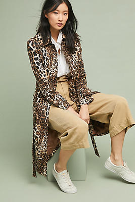 Slide View: 1: Leopard Trench Coat