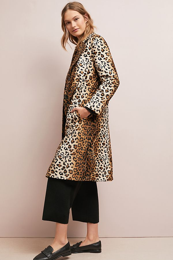 Slide View: 1: Lila Skinny Leopard Coat