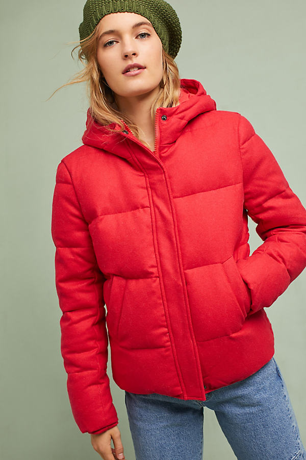 Rena Puffer Coat - Red, Size M