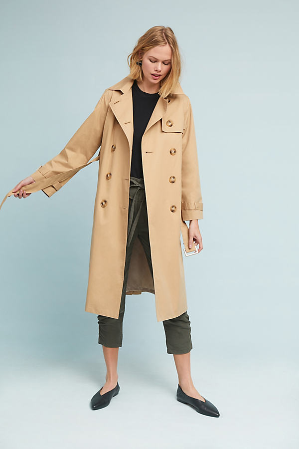 Pleated Trench Coat - Neutral, Size L
