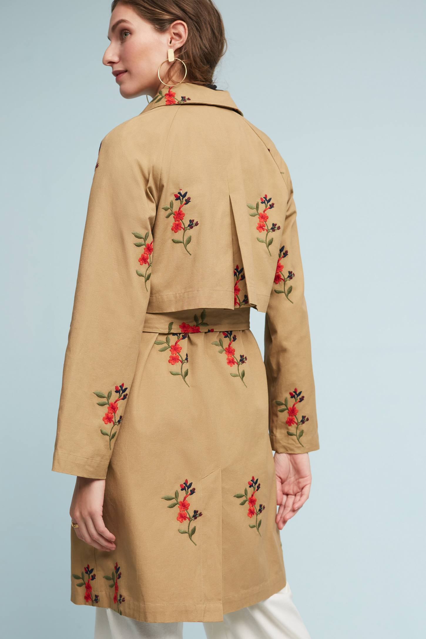 Slide View: 2: Embroidered Floral Trench