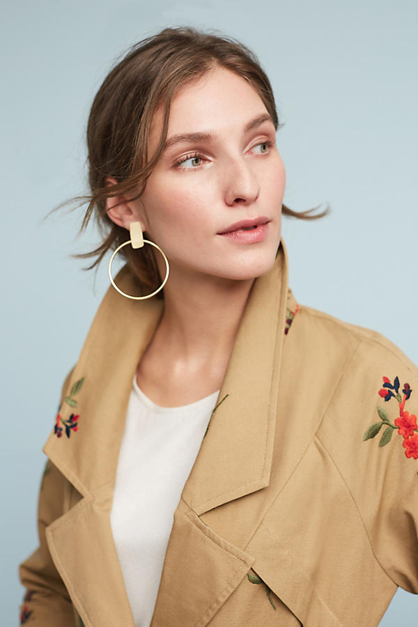 Slide View: 3: Embroidered Floral Trench