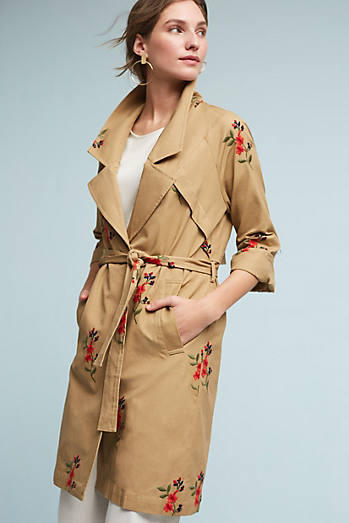Embroidered Floral Trench
