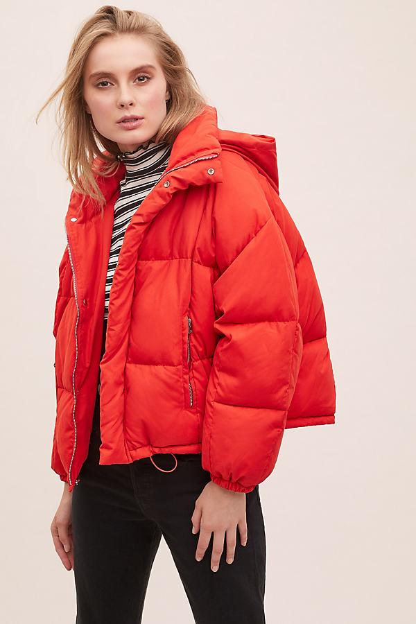 Britta Puffer Jacket - Red, Size Uk 16
