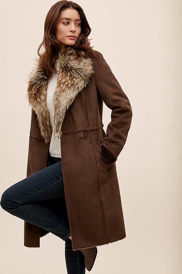 Kalya Faux Fur-Trimmed Suede Coat - Brown, Size Uk 16