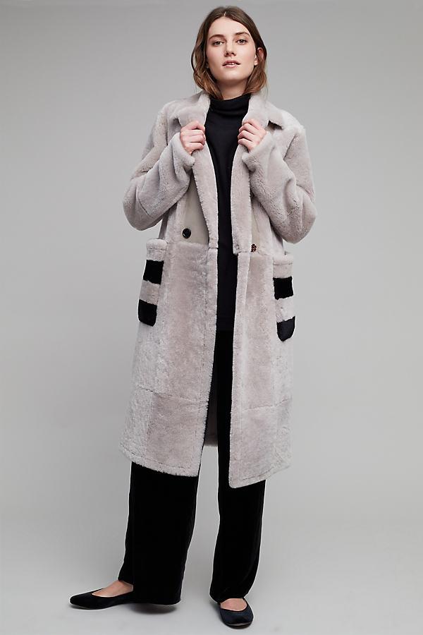 Abiah Shearling Stripe Pocket Coat - Grey, Size Xs