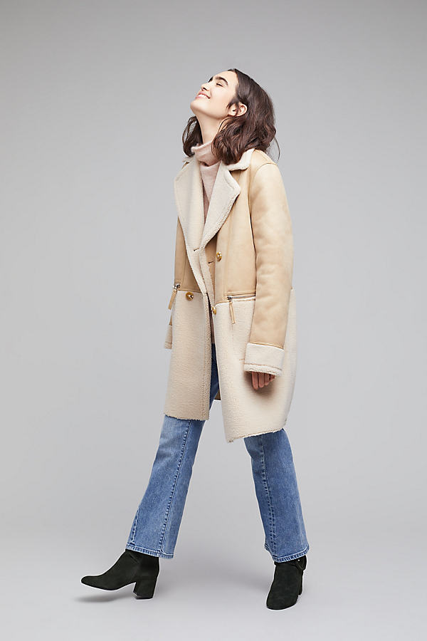 Bridgette Double Breasted Panelled Coat, Beige - Neutral, Size S