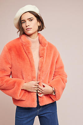 Slide View: 1: Mango Faux Fur Jacket