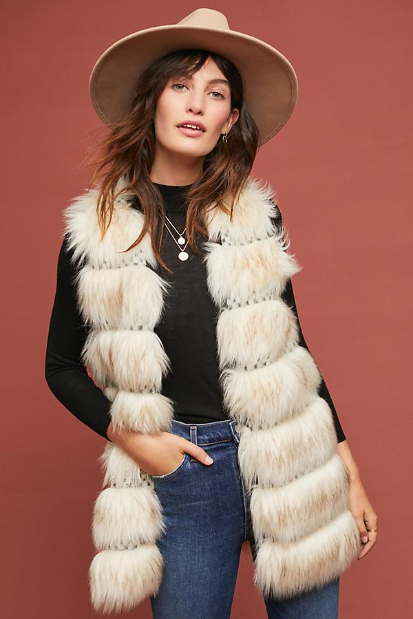 Faux-Fur Vest - Assorted, Size M