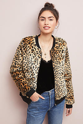 Slide View: 1: Leopard Faux Fur Jacket