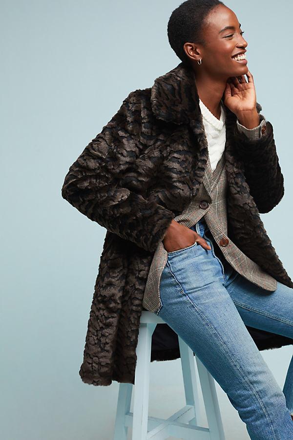 Tiger Faux-Fur Coat - Assorted, Size Uk 16