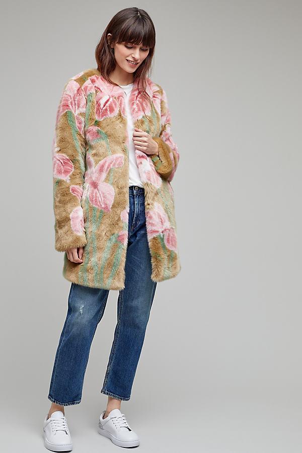 Iris Faux Fur Coat - Pink, Size Uk 12
