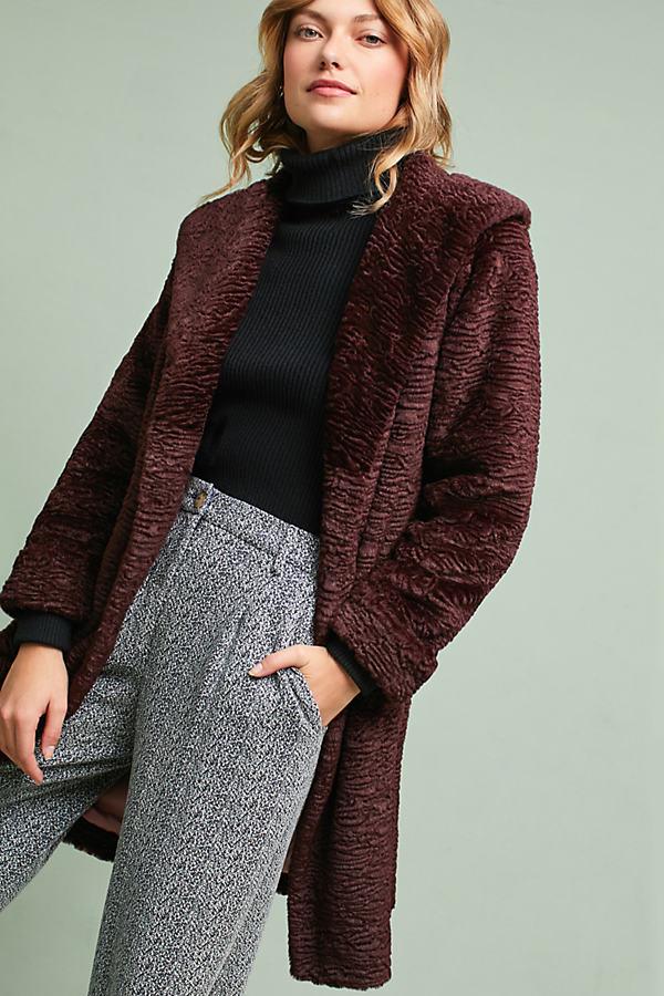 Rubie Faux Fur Coat - Plum, Size Uk 8