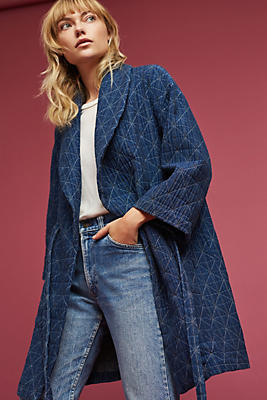 Slide View: 1: Diamond Quilted Wrap Coat