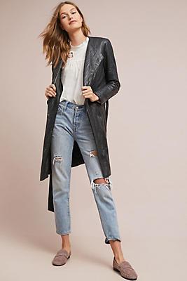 Slide View: 1: Bagatelle Belted Leather Jacket