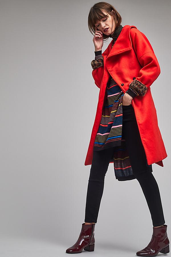 Alyssia Wrap Coat, Orange - Orange, Size Xs
