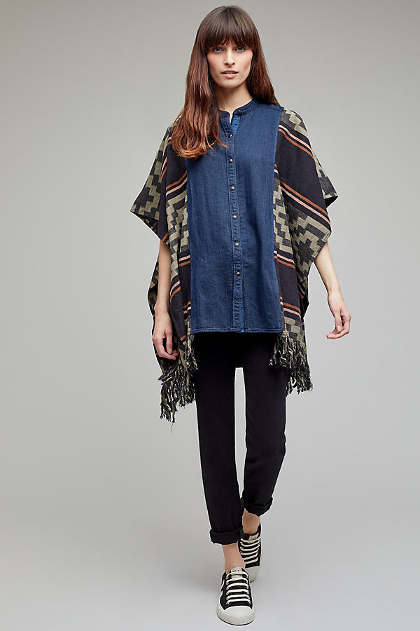 Stansie Blanket Cape - Denim Medium Blue, Size Xs