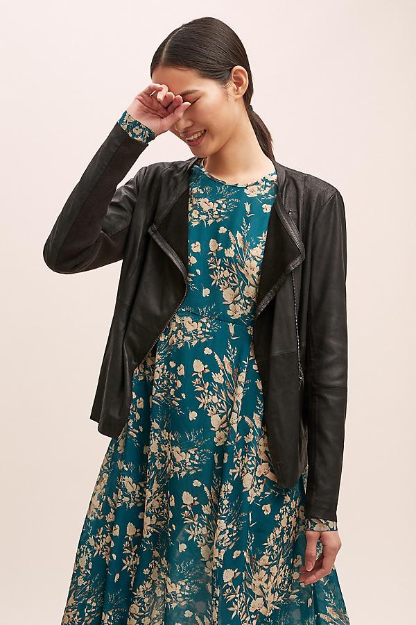 Kerstin Leather Jacket - Black, Size Uk 14