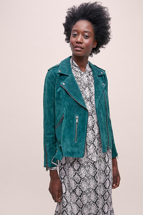 Selected Femme Sanella Suede Jacket - Green, Size Uk 10