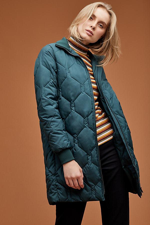 Selected Femme Folta Quilted Jacket - Dark Green, Size Uk 8