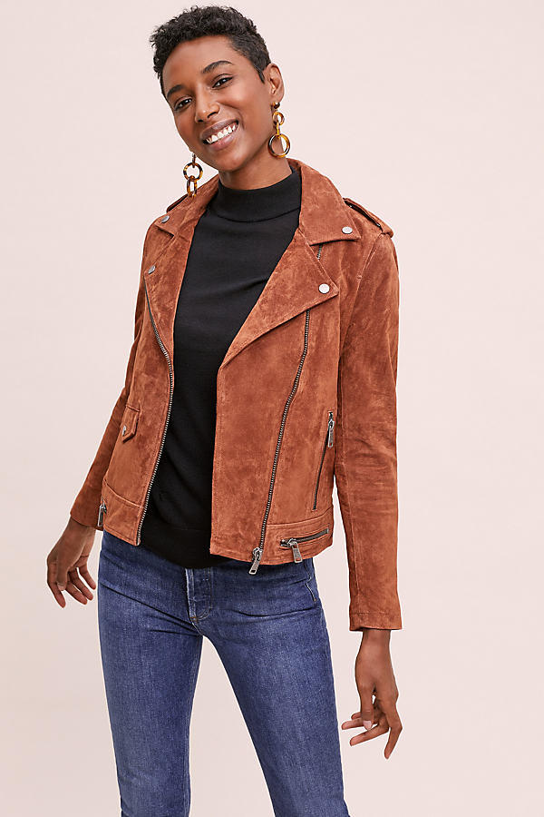 Selected Femme Flore Suede Jacket - Red, Size Uk 16