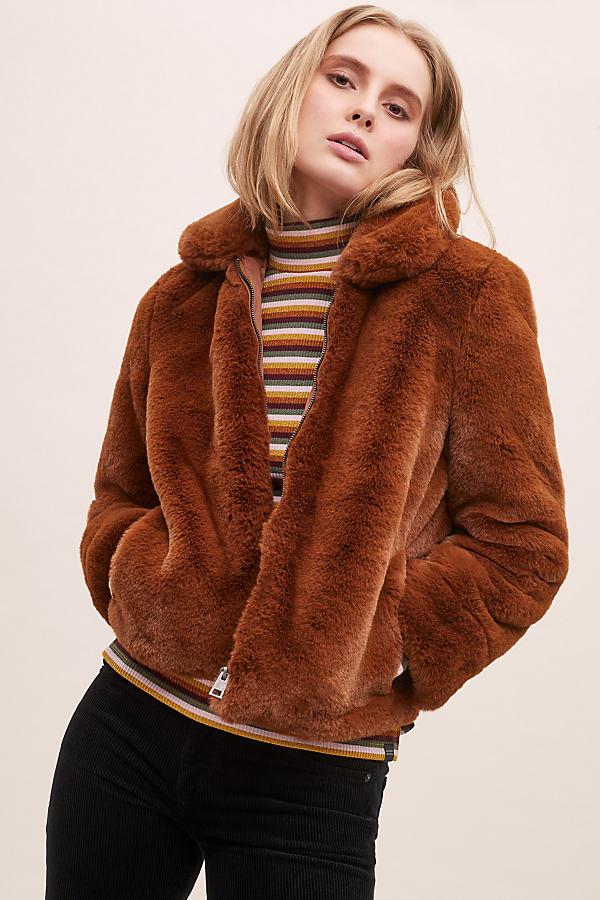 Selected Femme Faux Fur Jacket - Brown, Size Uk 16