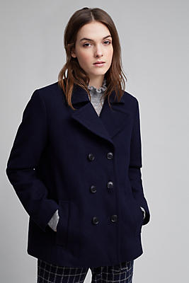 Slide View: 1: Gillian Pea Coat, Navy