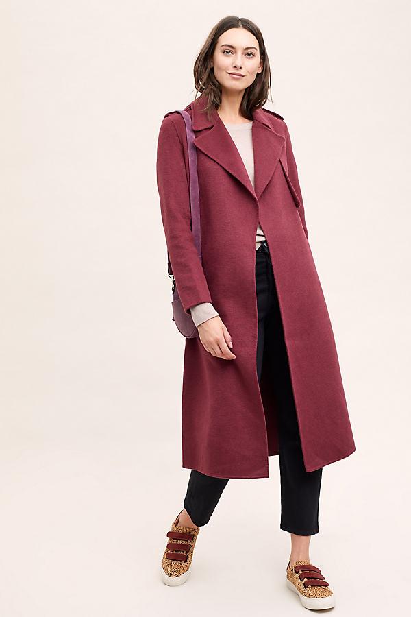 Selected Femme Tana Melange Coat - Red, Size Uk 14
