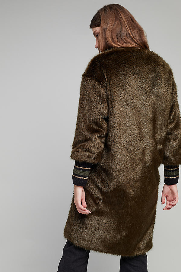 Slide View: 3: Bryant Faux Fur Ribbed Cuff Coat, Green