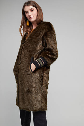 Bryant Faux Fur Ribbed Cuff Coat, Green