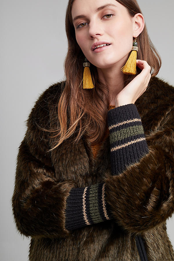 Slide View: 4: Bryant Faux Fur Ribbed Cuff Coat, Green