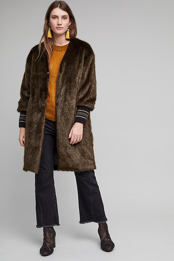 Slide View: 1: Bryant Faux Fur Ribbed Cuff Coat, Green