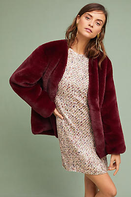 Slide View: 1: Jewel Faux Fur Coat