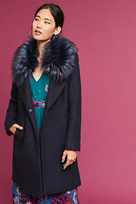 Slide View: 1: Faux Fur-Collared Coat