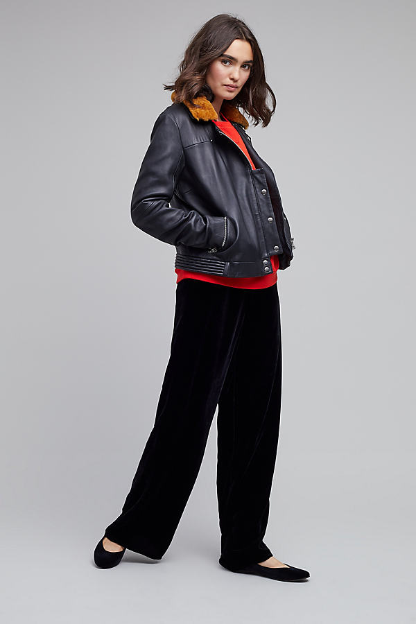 Lecia Faux Fur Trim Biker Coat - Black, Size M