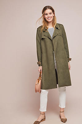 Slide View: 1: Harley Faux Suede Trench