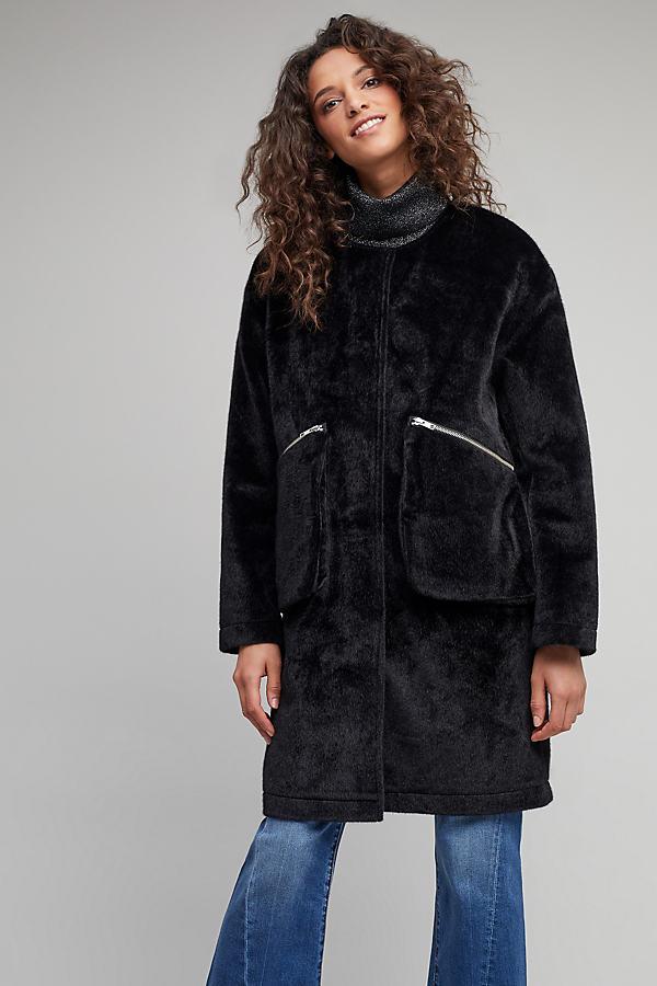 Doria Faux Pony Hair Coat - Black, Size M
