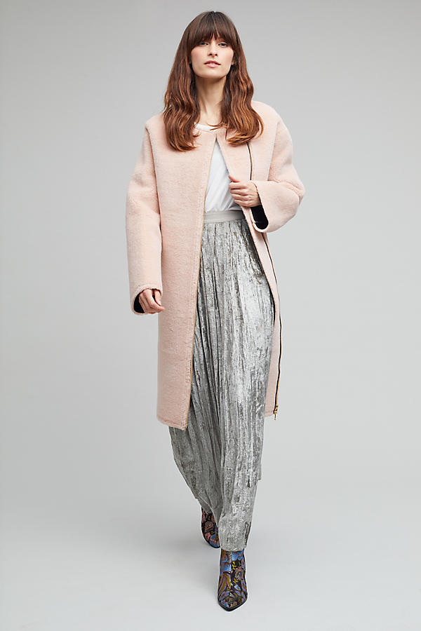 Janina Faux Shearling Coat, Pink | Anthropologie