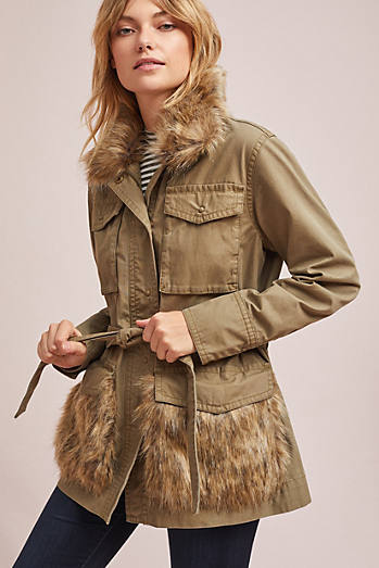Faux Fur-Trimmed Field Parka