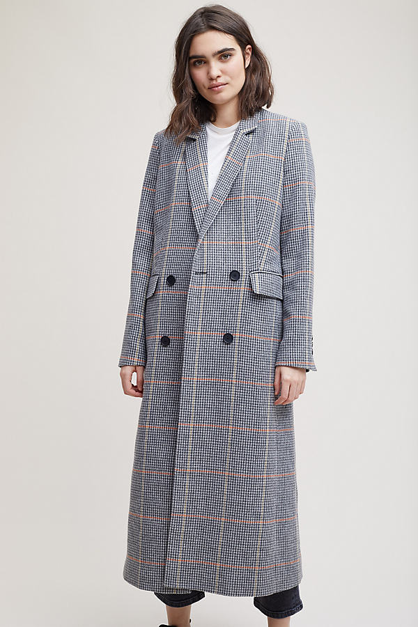 Fletcher Check Coat - Grey Motif, Size Uk 12