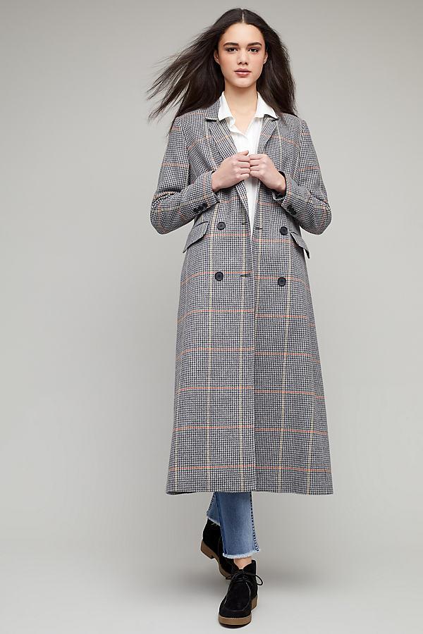 Fletcher Check Coat - Grey Motif, Size Uk 8