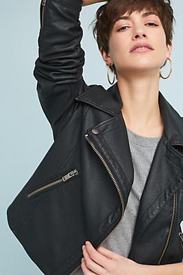 Slide View: 1: Shrunken Vegan Leather Moto Jacket