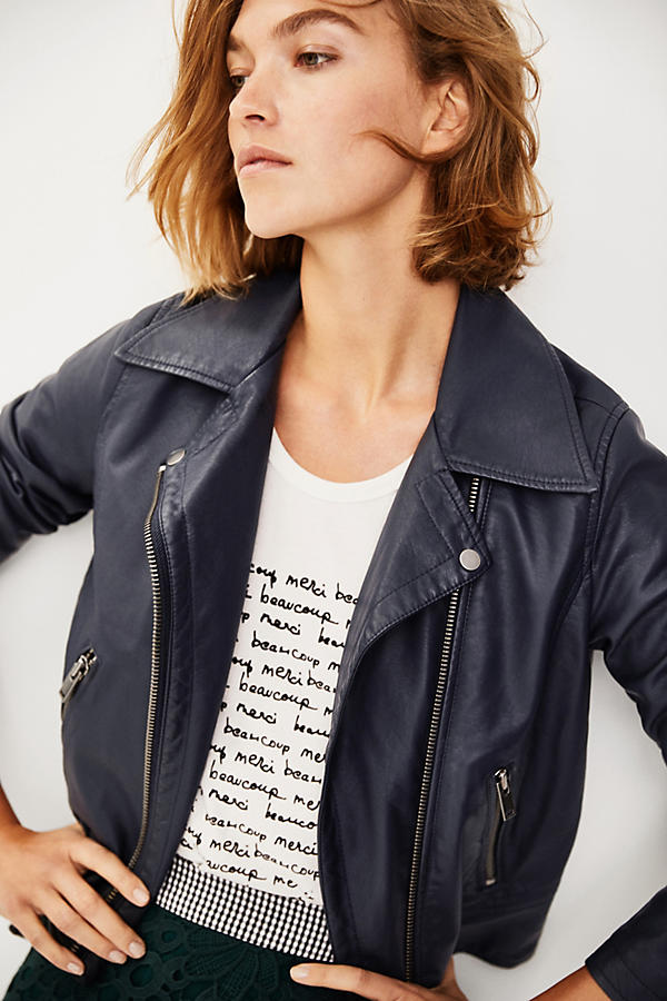Slide View: 5: Shrunken Vegan Leather Moto Jacket
