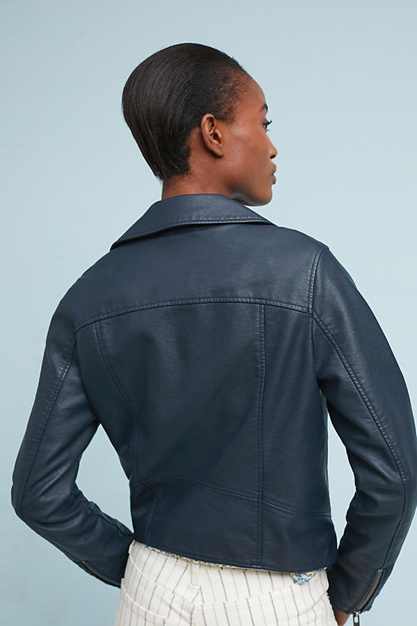 Slide View: 2: Shrunken Vegan Leather Moto Jacket