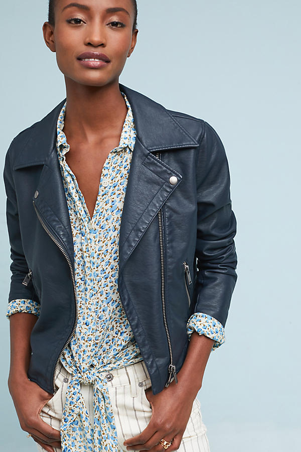 Slide View: 4: Shrunken Vegan Leather Moto Jacket