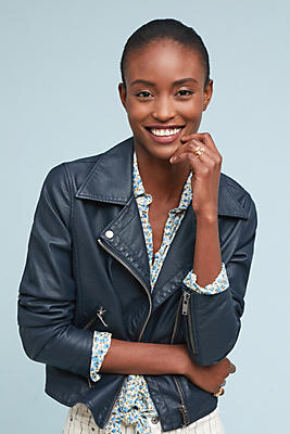 Slide View: 1: Shrunken Vegan Leather Moto Jacket