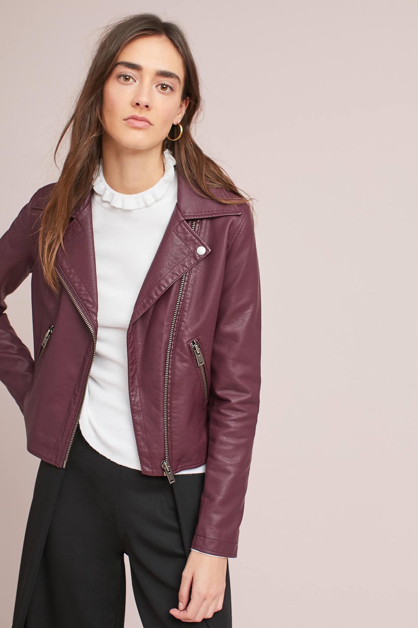 Shrunken Vegan Leather Moto Jacket