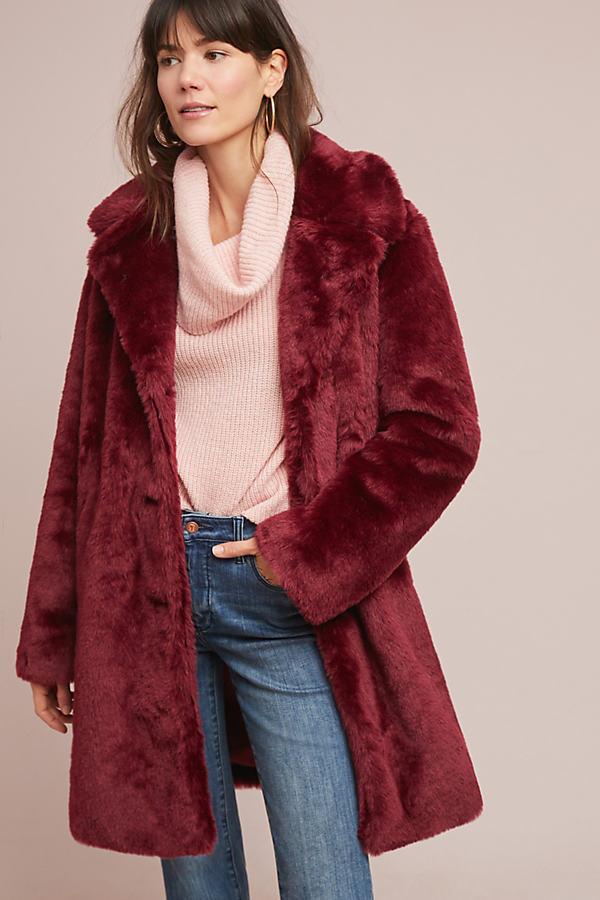 Lonnie Faux-Fur Coat - Purple, Size Xs