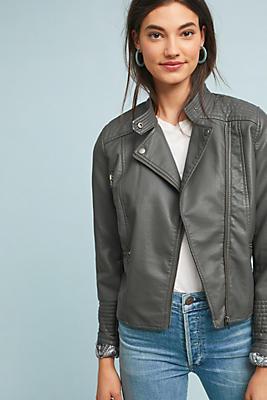 Slide View: 1: Vegan Leather Moto Jacket